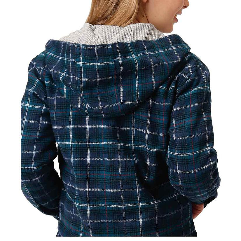Roper Assorted Plaid Flannel Girl's Shirt Jackets BLUE