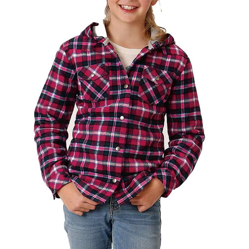 Roper Assorted Plaid Flannel Girl's Shirt Jackets PINK