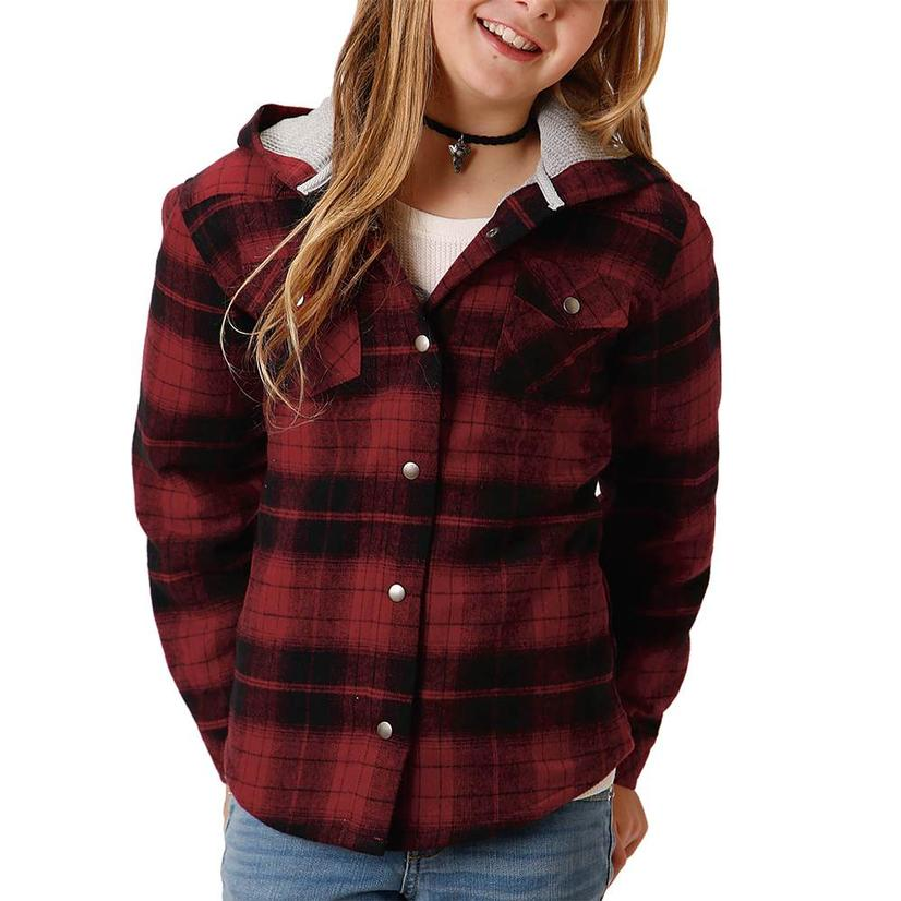 Roper Assorted Plaid Flannel Girl's Shirt Jackets RED