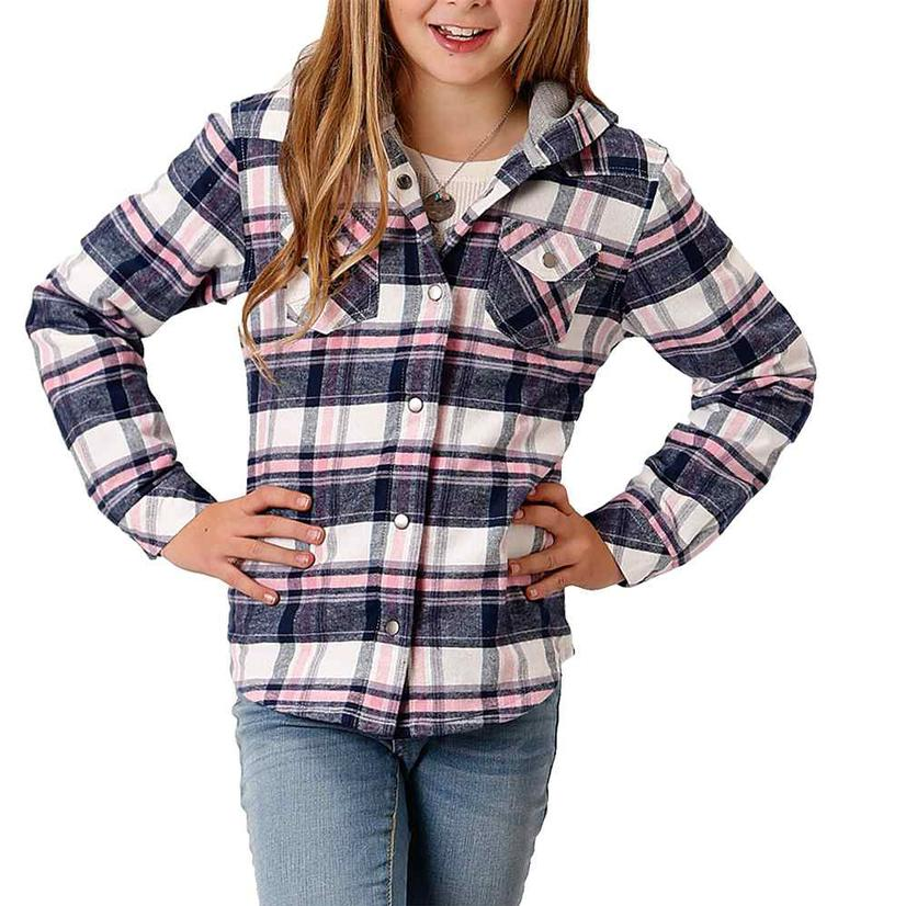 Roper Assorted Plaid Flannel Girl's Shirt Jackets WHITE/PINK