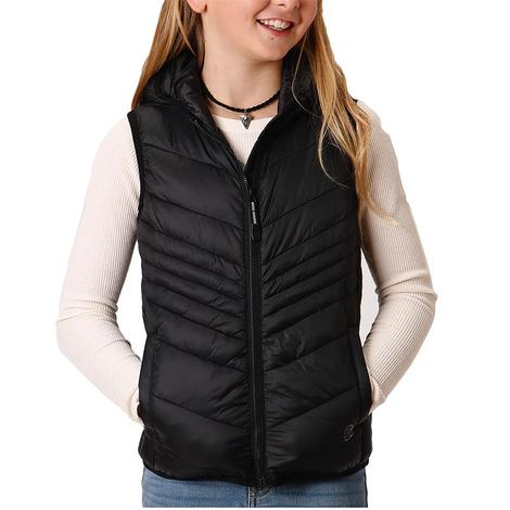 Roper Black Down-Like Poly-Fill Girl's Vest