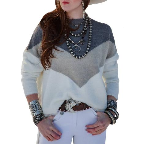 Tasha Polizzi Candice Grey and White Pullover Women's Sweater