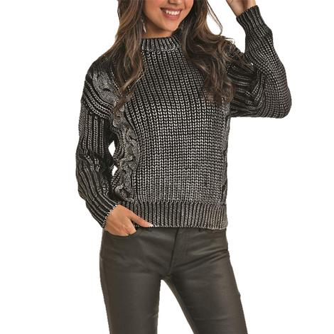 Rock and Roll Cowgirl Silver Metallic Cable Knit Women's Sweater