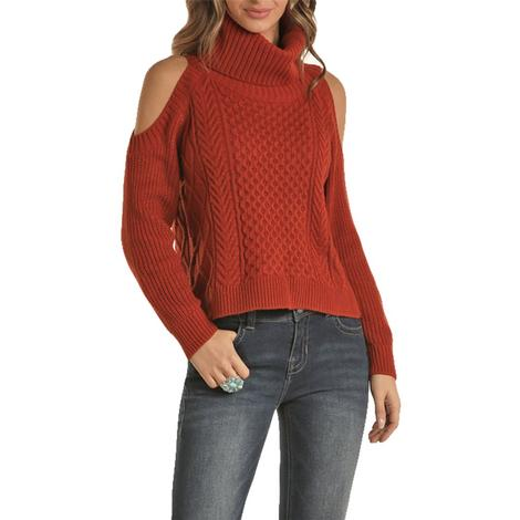Rock and Roll Cowgirl Cold Shoulder Rust Women's Turtleneck