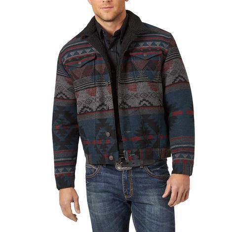 Wrangler Black Aztec Print Sherpa Lined Mens' Jacket