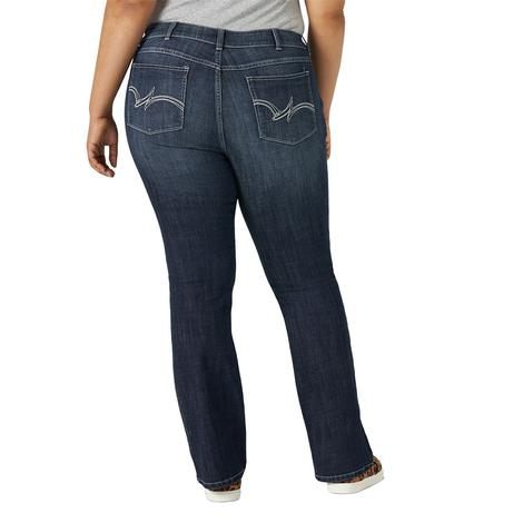 Wrangler Plus Size Midrise Bootcut Dark Wash Women's Jeans