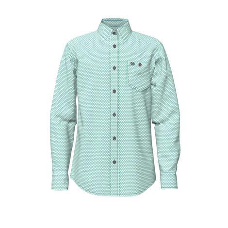 Wrangler Turquoise Print Long Sleeve Buttondown Boy's Shirt