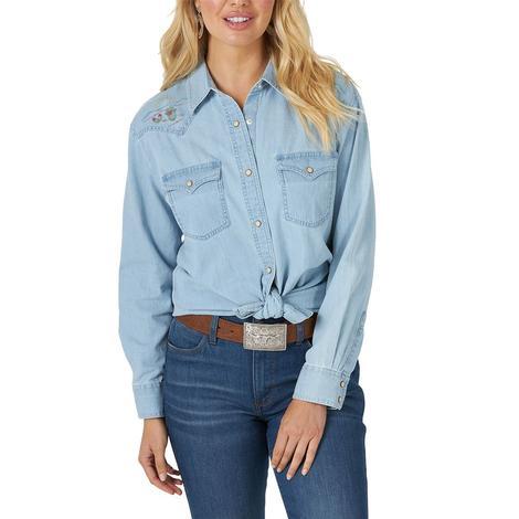Wrangler Denim Embroidered Long Sleeve Snap Women's Shirt