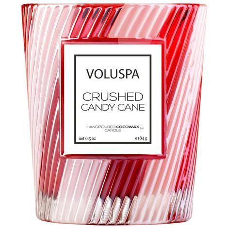 Voluspa Crushed Candy Cane Classic Candle in Textured Glass 6.5oz