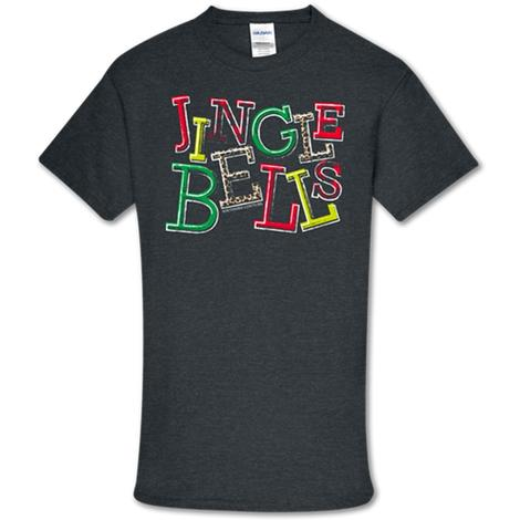 Southern Couture Jingle Bells Charcoal Tee