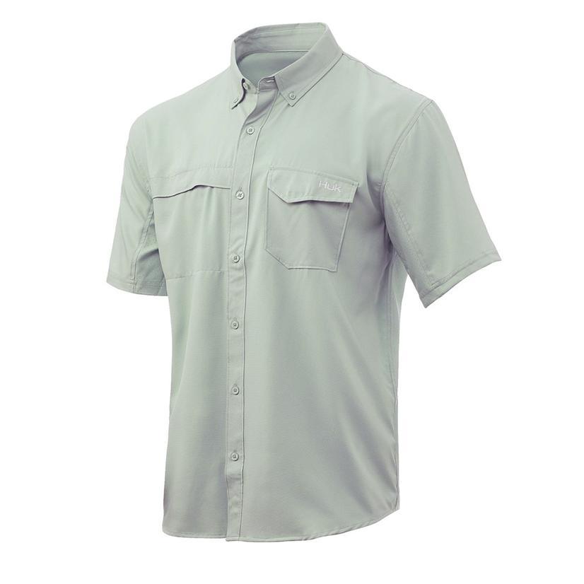 Huk Tide Point Sage Solid Short Sleeve Buttondown Men's Shirt