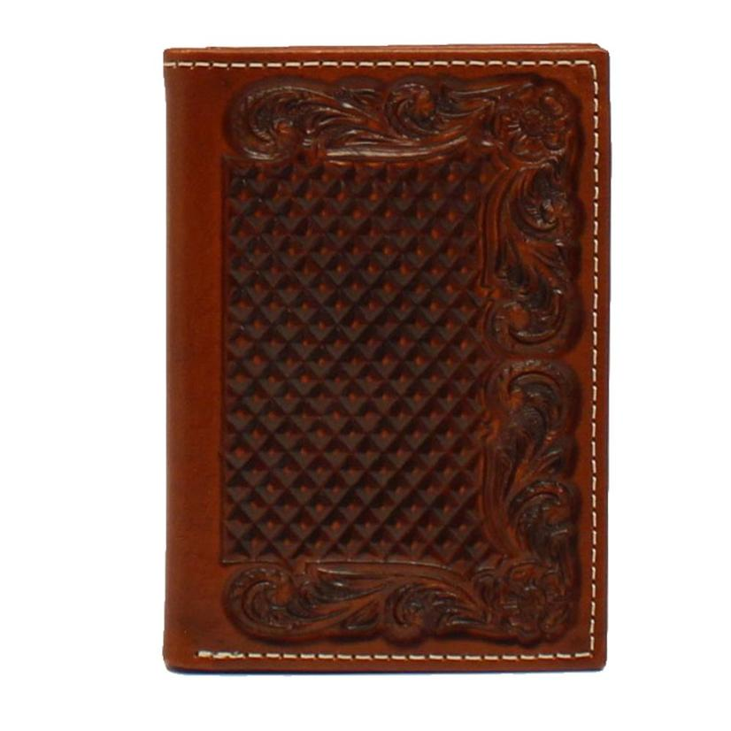 Ariat Basketweave Trifold Men's Leather Wallet