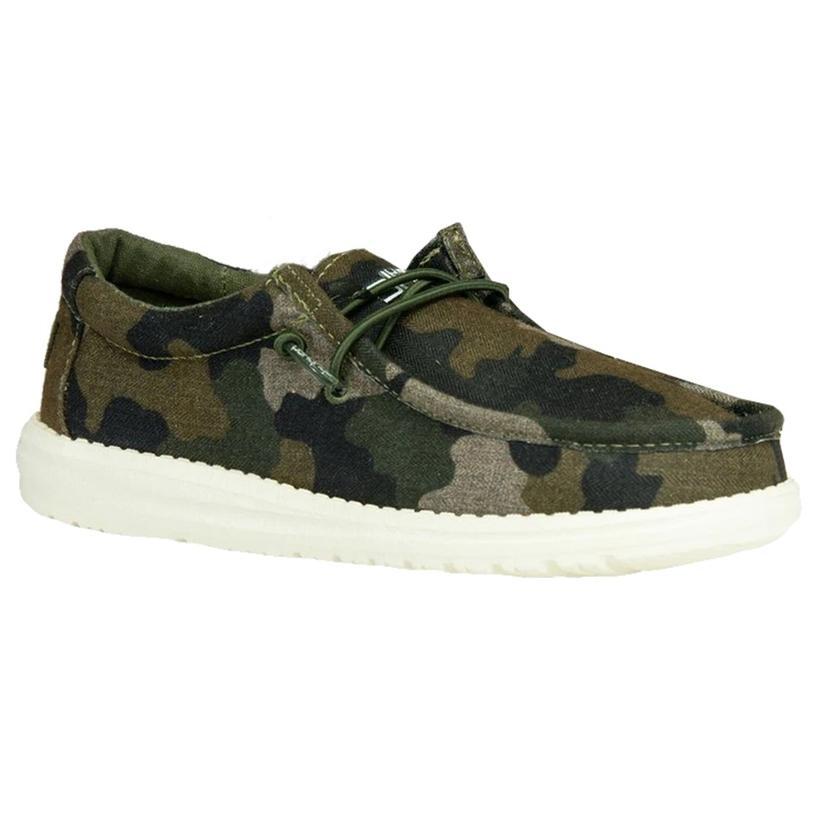 Hey Dude Wally Youth Linen Camo Shoes