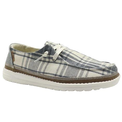 Hey Dude Wendy Tartan Grey Shoe