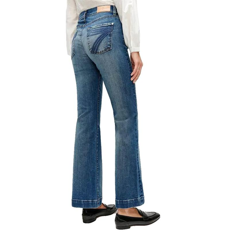 7 For All Mankind Distressed Authentic Dojo In Light Wash Women's Trousers
