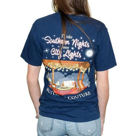 Navy Blue Southern Nights City Lights Short Sleeve T-Shirt