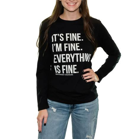 Black Everything is Fine Long Sleeve T-Shirt