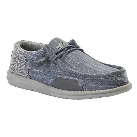Hey Dudes Wally Funk Herringbone in Steel Grey Men's Shoe