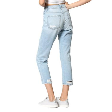 Hidden Jeans Tracey Light Wash High Rise Distressed Straight Crop Jeans