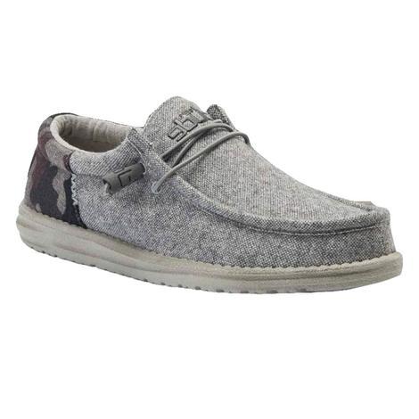 Hey Dude Wally Wool Funk Camo Grey Men's Shoes