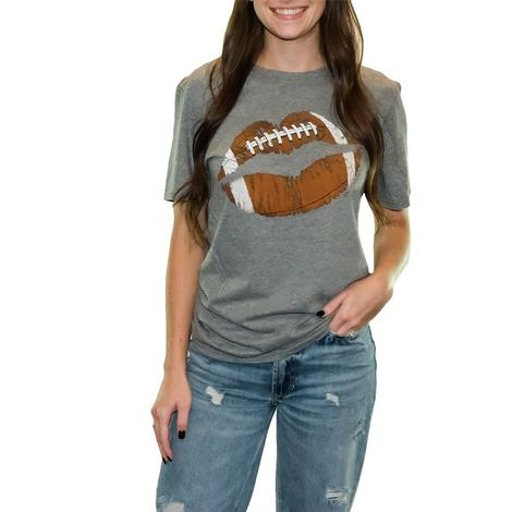 Southern Couture Football Lips Grey Tee