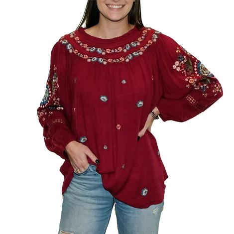 Savanna Jane Wine Embroidered Plus Size Women's Top