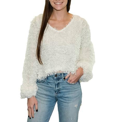 Ivory V-neck Long Sleeve Women's Sweater