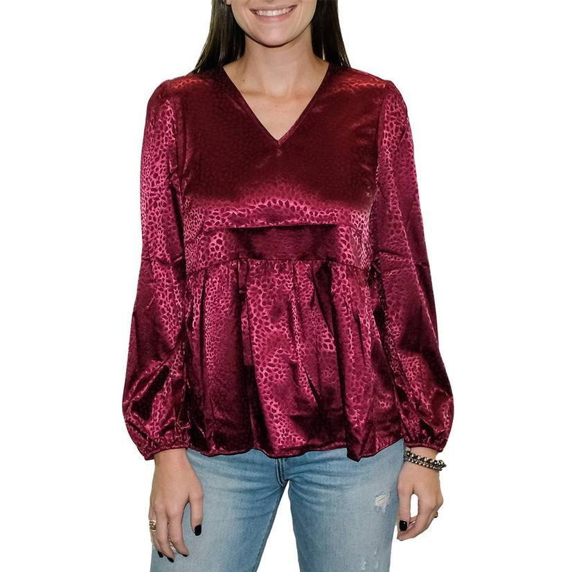 Magenta Silk Embossed V- Neck Women's Long Sleeve Blouse