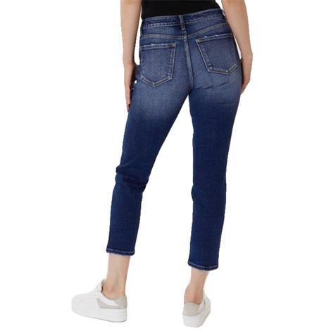 Kancan Dark Wash Distressed Mom Jeans
