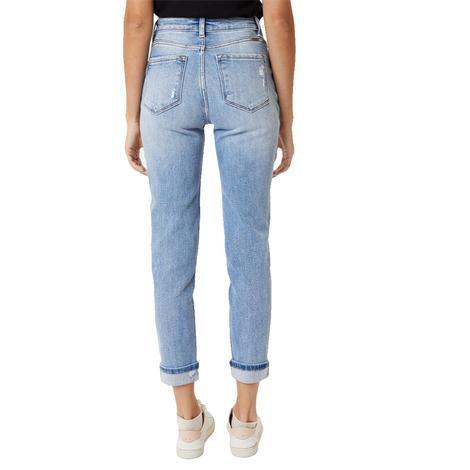 Kancan Medium Wash Distressed Wash Mom Jeans