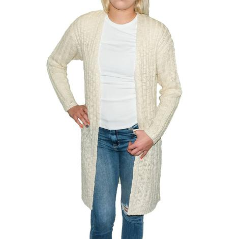Natural Ivory Women's Long Cardigan Sweater