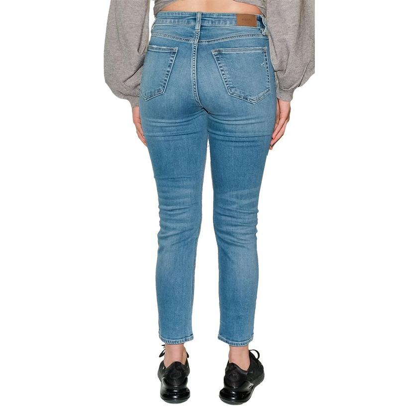 Hidden Women's Medium Wash Distressed Slim Fit Mom Jean