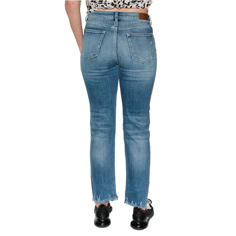 Hidden Women's Medium Wash Chewed Hem Straight Leg Jeans