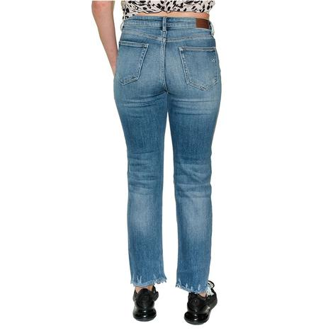 Hidden Women's Medium Wash Chewed Hem Straight Leg Jeans