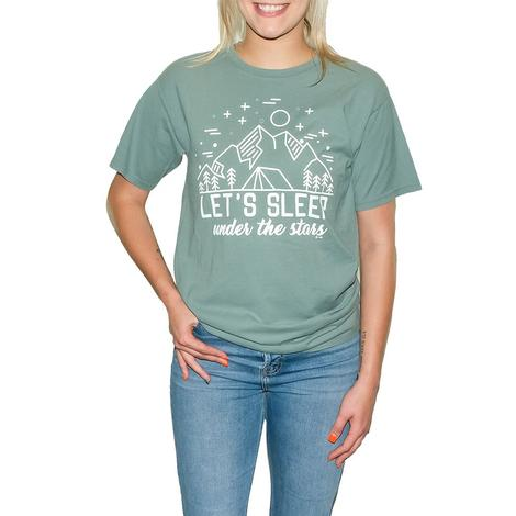 Let's Sleep Under the Stars Green Tee Shirt