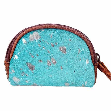 American Darling Bags Acid Wash Turquoise Cowhide Makeup Bag