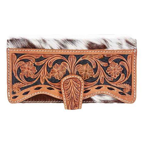 American Darling Bags Tan White Cowhide Tooled Wallet
