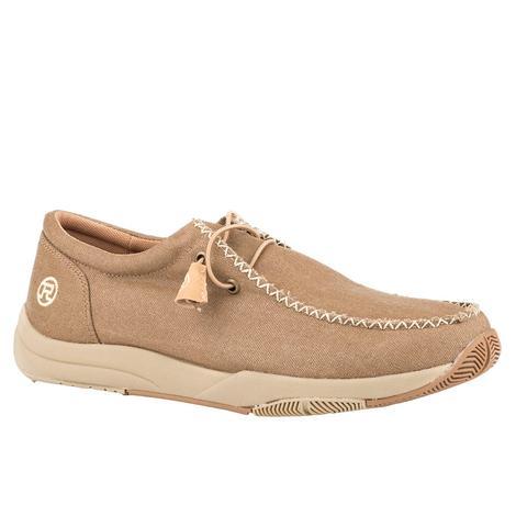 Roper Clearcut Low Tan Canvas Chukka Men's Shoes