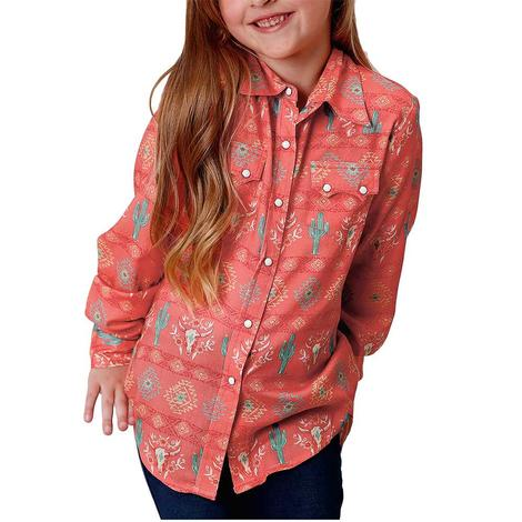 Roper Coral Cactus Print Long Sleeve Snap Girl's Shirt
