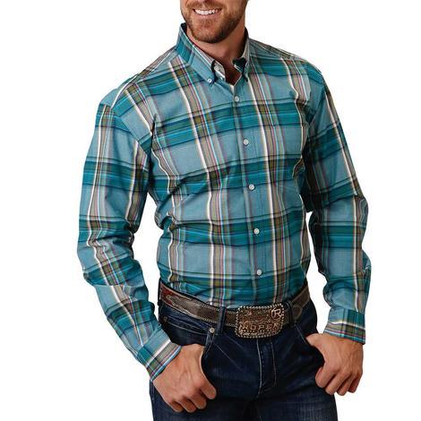 Roper Green Blue Plaid Long Sleeve Buttondown Men's Shirt