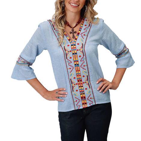 Roper Blue Crepe Chambray Embroidered V-neck Women's Blouse