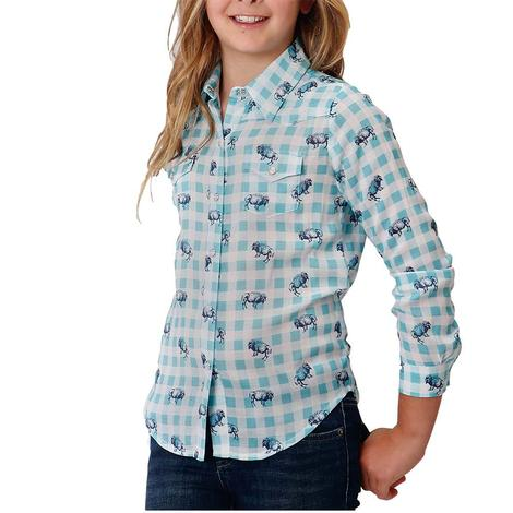 Roper Turquoise Buffalo Print Plaid Long Sleeve Buttondown Girl's Shirt