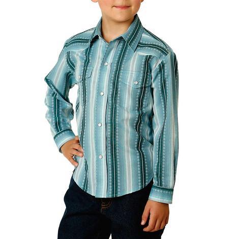 Roper Blue Stripe Long Sleeve Snap Boy's Shirt