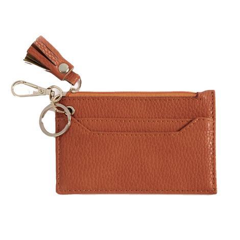 Shiraleah Cece Card Case with Keychain Cognac