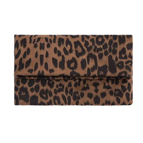 Shiraleah Tori Fold Clutch in Brown Leopard
