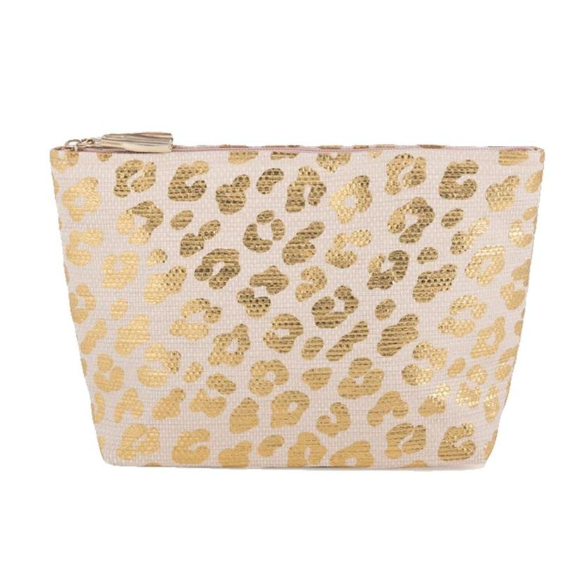 Shiraleah Ripley Zip Pouch In Gold With Leopard Print
