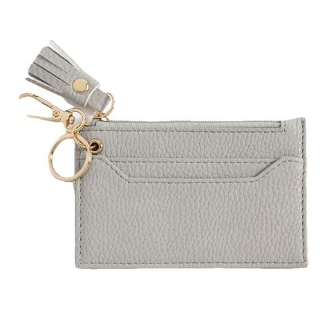 Cece Card Case with Key Chain in Grey