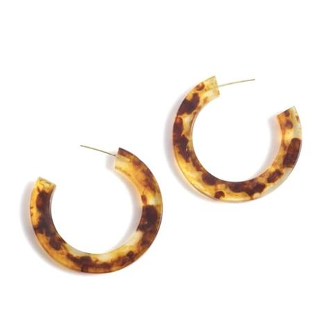 Shiraleah Yvonne Hoop Womens Earrings in Tortoise