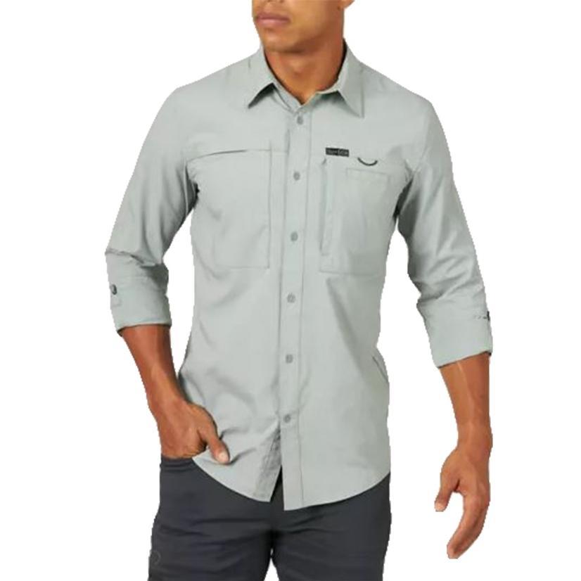 Wrangler Hike To Fish Dark Forest Long Sleeve Buttondown Men's Shirt