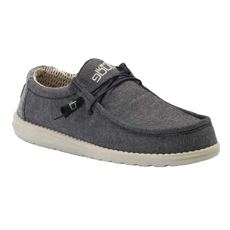 Hey Dude Wally Black Chambray Men's Shoes